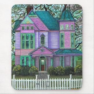 Purple Victorian House Pumpkins Wagon Fall Trees Mouse Pad