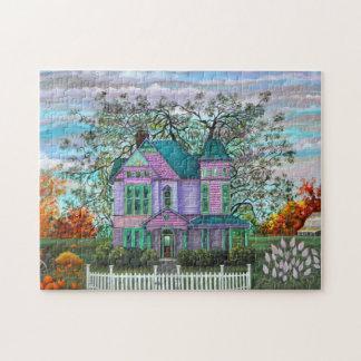 Purple Victorian House Pumpkins Wagon Fall Trees Puzzles