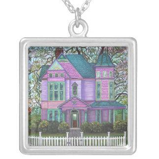 Purple Victorian House Pumpkins Wagon Fall Trees Square Pendant Necklace
