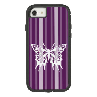 Purple Victorian Stripe with Butterfly Case-Mate Tough Extreme iPhone 8/7 Case