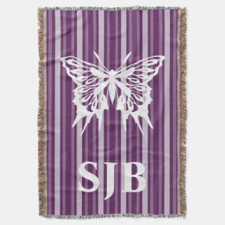 Purple Victorian Stripe with Butterfly Throw Blanket