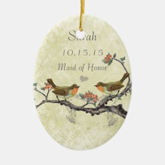 Purple Vintage Bird Maid of Honor Ornaments