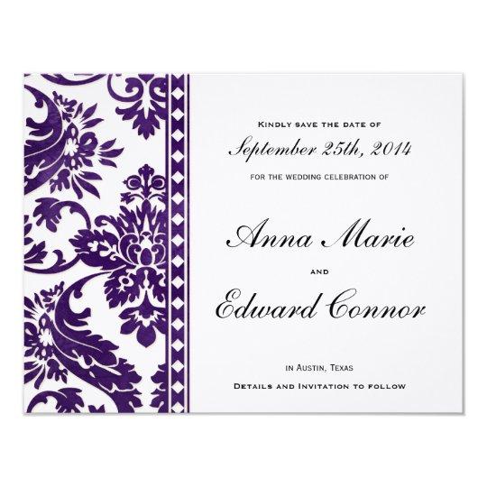 Purple Vintage Damask Lace Save the Dates Card