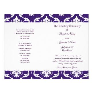 Purple Vintage Damask Wedding Program Full Color Flyer