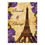 purple vintage eiffel tower Paris wedding invite