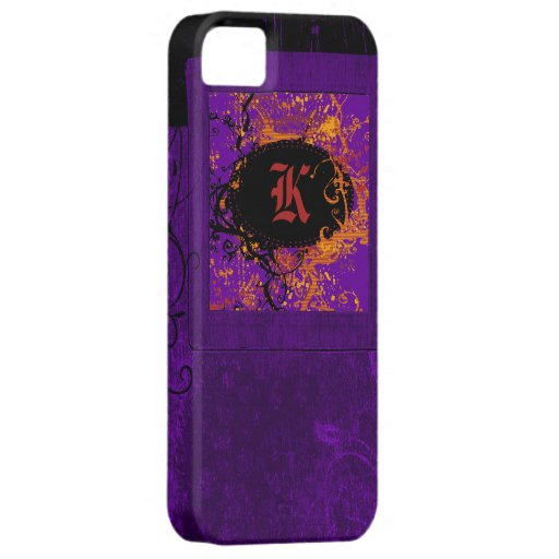 Purple vintage floral and Monogram K iPhone 5 Covers