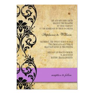 Purple Vintage Floral Swirl Wedding Invitation