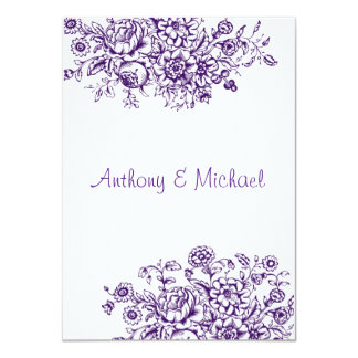 Purple Vintage Floral Wedding Invitation