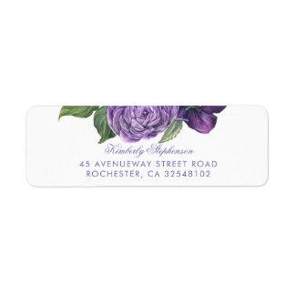 Purple Vintage Floral Wedding Return Address Label