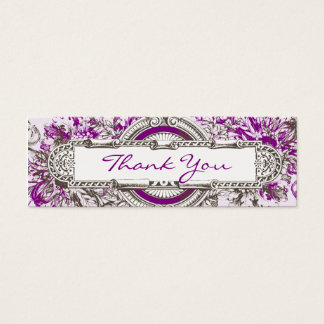 Purple Vintage Floral Wedding Thank You Tag