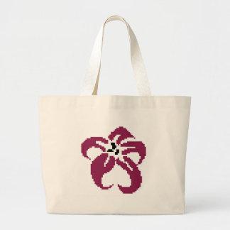Purple vintage flower large tote bag