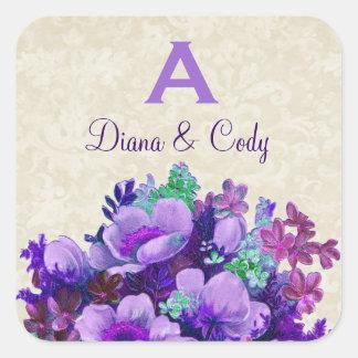 Purple Vintage Flowers Wedding Monogram S580 Square Sticker