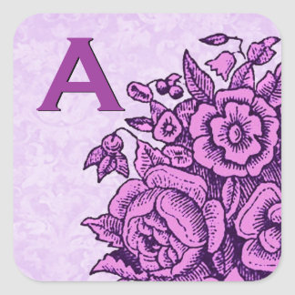 Purple Vintage Flowers Wedding Monogram S879 Square Sticker
