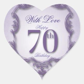 Purple Vintage Frame 70th birthday Heart Sticker