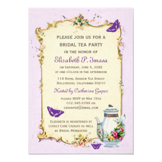 Purple Vintage French Bridal Tea Party 13 Cm X 18 Cm Invitation Card