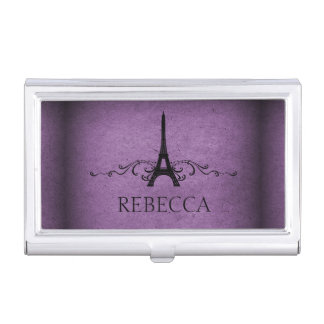 Purple Vintage French Flourish Business Card Holder