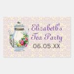 Purple Vintage French Tea Party Favour Stickers