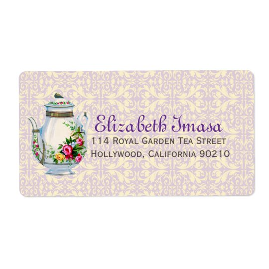 Purple Vintage French Tea Party Shipping Label