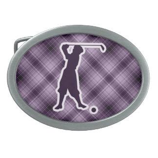 Purple Vintage Golfer Oval Belt Buckle
