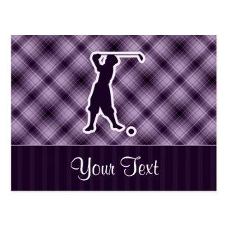 Purple Vintage Golfer Postcard