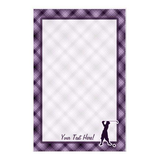 Purple Vintage Golfer Stationery Paper