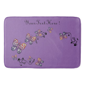 Purple Vintage Hand Drawn Butterfly Personalized Bath Mat