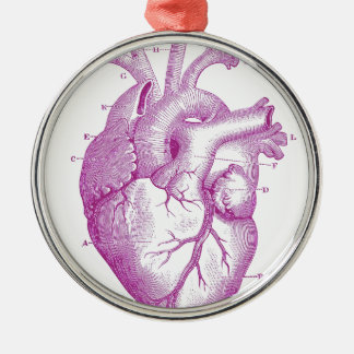 Purple Vintage Heart Anatomy Christmas Ornament