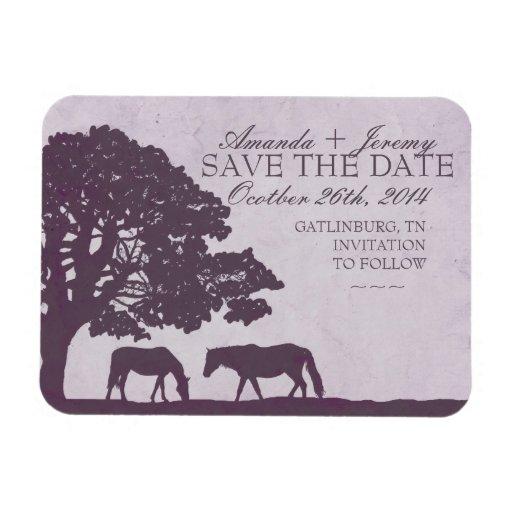 Purple Vintage Horse Farm Save The Date Flexible Magnets