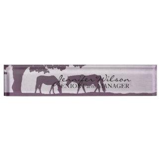 Purple Vintage Horse Farm Wedding Desk Name Plates
