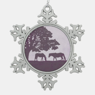Purple Vintage Horse Farm Wedding Pewter Snowflake Decoration