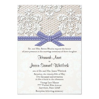 Purple Vintage Lace and Pearls Glamour Wedding 13 Cm X 18 Cm Invitation Card