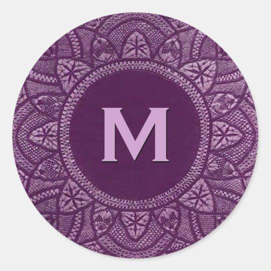 Purple Vintage Lace Custom Monogram Classic Round Sticker