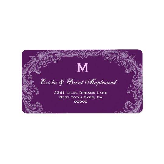 Purple Vintage Monogram B455 Address Label