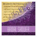 Purple Vintage Peacock Bridal Shower Invitations