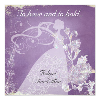 Purple Vintage To Have and Hold Wedding Invite