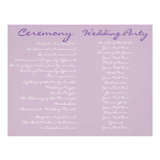 Purple Vintage Wedding Ceremony Program 21.5 Cm X 28 Cm Flyer