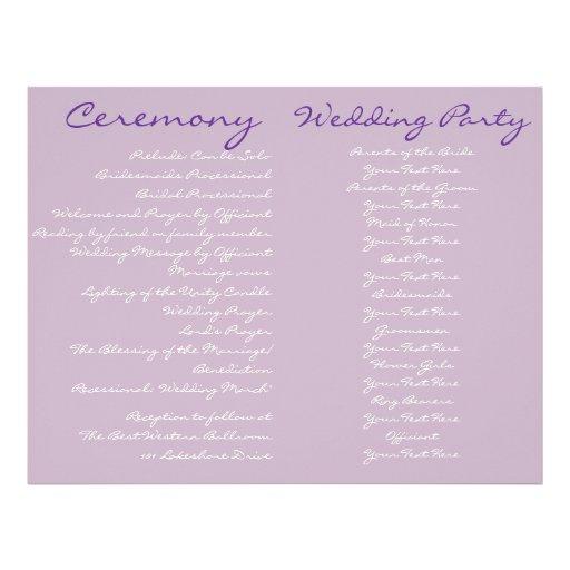 Purple Vintage Wedding Ceremony Program Full Color Flyer