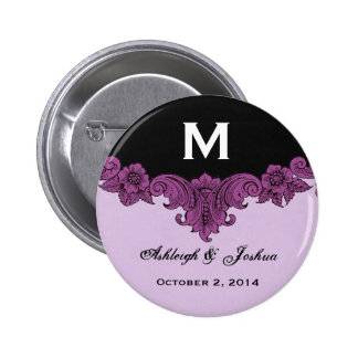 Purple Vintage Wedding Custom Monogram Celebration 6 Cm Round Badge
