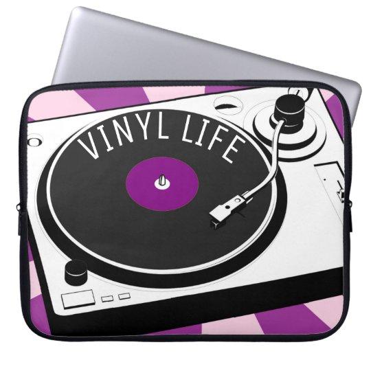 Purple Vinyl Life Retro Turntable Laptop Sleeve