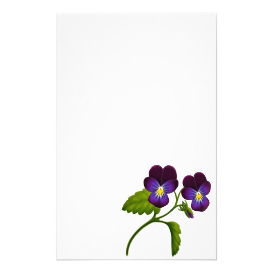 Purple Viola Pansy Stationery