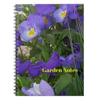 Purple Violas In A Garden Container Notebook