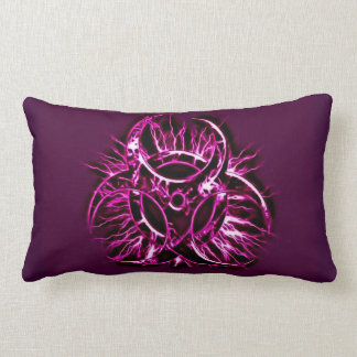 Purple, violet biohazard toxic warning sign symbol lumbar cushion