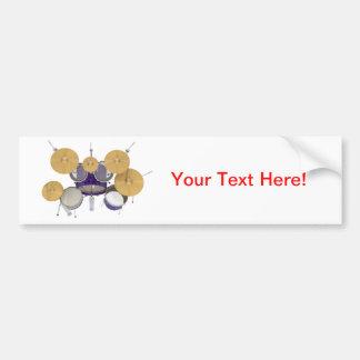 Purple Violet Drum Kit Bumper Stickers