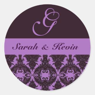 purple-violet_filigree, Sarah & Kevin, G Classic Round Sticker