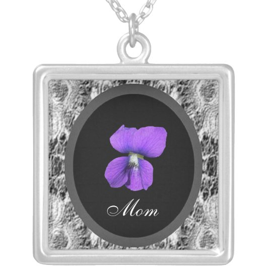 Purple Violet Mum Silver Plated Necklace