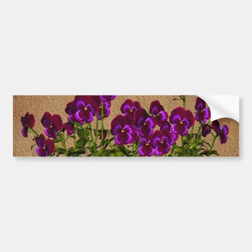 Purple Violets On Aged Paper Floral Bumper Sticker