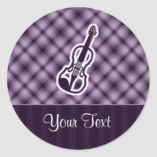 Purple Violin Classic Round Sticker