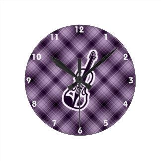 Purple Violin Round Clock