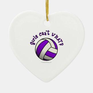 Purple Volleyball Christmas Ornament