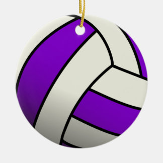 Purple Volleyball Christmas Ornament